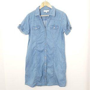 mystyle   Button Front Blue Denim Shirt Dress M